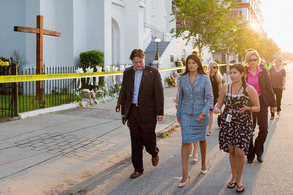 Nine Dead After Church Shooting in Charleston [photograph,people,yellow,event,fashion,ceremony,architecture,summer,dress,photography,clementa pinckney,nikki haley,c,staff,security,television interview,charleston,south carolina,nine dead after church shooting,church]
