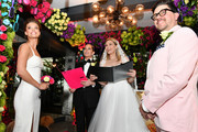 """Nina Agdal, Sara Foster, Erin Foster and Dj Quintero celebrate """"Knot-A-Real-Wedding"""" in honor of Conair's The Knot Dr. Detangling Brush in New York City."""