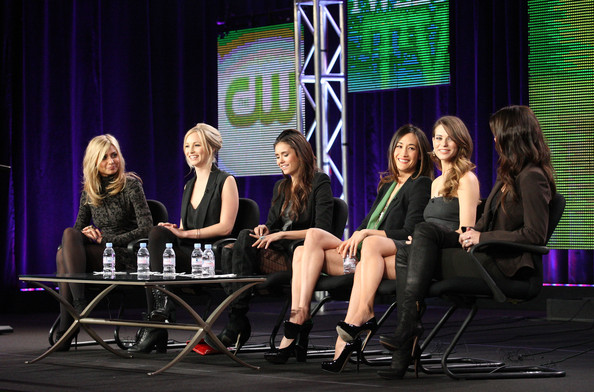 Nina Dobrev (L-R) Actresses Aly Michalka, Candice Accola, Nina Dobrev, Maggie Q, Lyndsy Fonseca and Erica Durance speak during the 'Kick-Ass Women Of The CW' panel during the CW portion of the 2011 Winter TCA press tour held at The Langham Huntington Hotel on January 14, 2011 in Pasadena, California.