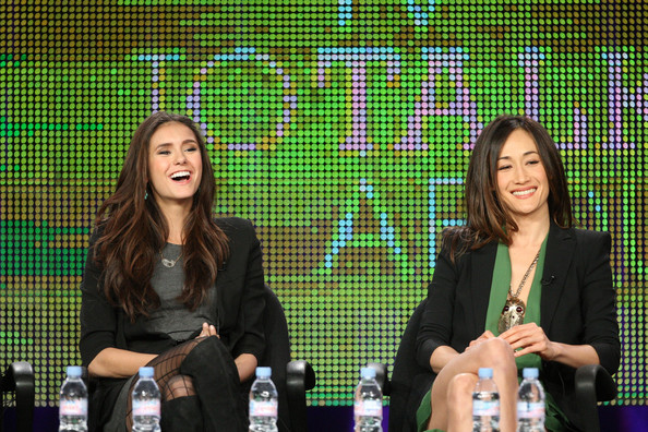 Nina Dobrev Actresses Nina Dobrev and Maggie Q speak during the 'Kick-Ass Women Of The CW' panel during the CW portion of the 2011 Winter TCA press tour held at The Langham Huntington Hotel on January 14, 2011 in Pasadena, California.