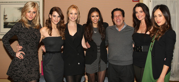 Nina Dobrev (L-R) Actresses Aly Michalka, Lyndsy Fonseca, Candice Accola, Nina Dobrev, Peter Roth, President of Warner Brothers Television, and actresses Erica Durance and Maggie Q attend The CW's 2011 Winter TCA Party at The Langham Huntington Hotel on January 14, 2011 in Pasadena, California.