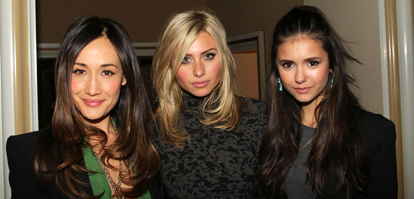 Nina Dobrev (L-R) Actresses Maggie Q, Aly Michalka and Nina Dobrev attend The CW's 2011 Winter TCA Party at The Langham Huntington Hotel on January 14, 2011 in Pasadena, California.