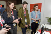 Analeigh Tipton (L) and Morgan McDorman (R) visit the Nintendo booth during the 2018 E3 Gaming Convention at Los Angeles Convention Center on June 14, 2018 in Los Angeles, California. at Los Angeles Convention Center on June 14, 2018 in Los Angeles, California.