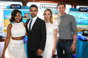 (L-R) Actors Meagan Good, Wilmer Valderrama, Laura Regan and Stark Sands attend The Nintendo Lounge on the TV Guide Magazine yacht during Comic-Con International 2015 on July 10, 2015 in San Diego, California.