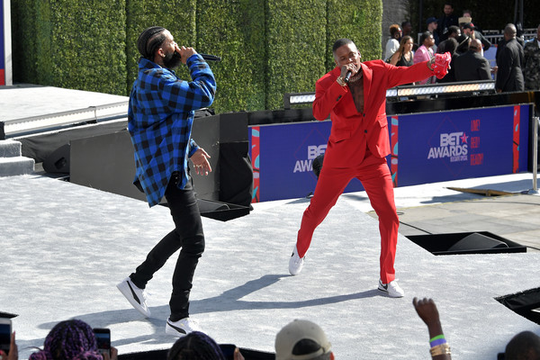 2018 BET Awards Pre-Show - Live! Red! Ready! Sponsored By Nissan [performance,event,performing arts,performance art,fun,stage,competition,recreation,dance,competition event,nipsey hussle,microsoft theater,los angeles,california,nissan,l,yg,pre-show,bet awards]