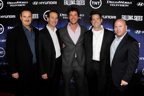 """Premiere Of TNT And Dreamworks' """"Falling Skies"""" - Red Carpet [falling skies,premiere,event,suit,white-collar worker,team,greg beeman,noah wyle,darryl frank,justin falvey,executive vice-president,tnt,dreamworks,red carpet,premiere]"""