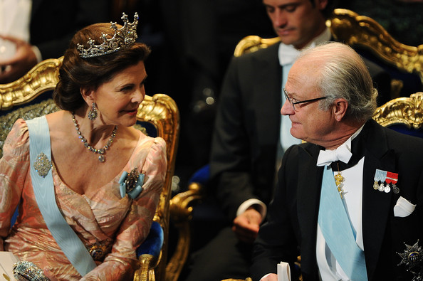Queen Silvia of Sweden (L) and King Carl XVI Gustaf of Sweden (R) attends the Nobel Prize Award Ceremony at Stockholm Concert Hall on December 10, 2011 in Stockholm, Sweden.