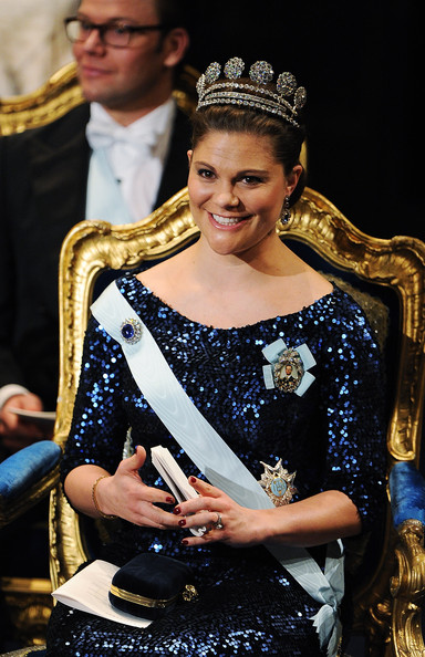 Crown Princess Victoria of Sweden smiles at the Nobel Prize Award Ceremony at Stockholm Concert Hall on December 10, 2011 in Stockholm, Sweden.