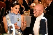 Sweden's Crown Princess Victoria (L) and US physicist and Nobel Prize in Physics 2017 laureate Kip S Thorne attend the 2017 Nobel Banquet for the laureates in medicine, chemistry, physics, literature and economics in Stockholm, on December 10, 2017. / AFP PHOTO / Jonathan NACKSTRAND