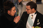 Author Olga Tokarczuk, laureate of the Nobel Prize in Literature 2018 and Prince Daniel of Sweden attend the Nobel Prize Banquet 2018 at City Hall on December 10, 2019 in Stockholm, Sweden.