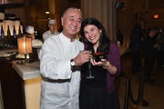 Chef Nobu Matsuhisa (L) and Food & Wine Editor-in-Chief Nilou Motamed attend the Nobu Downtown Sake Ceremony at Nobu Downtown on May 30, 2017 in New York City.