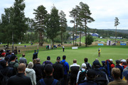 Crowds watch Thomas Aiken of South Africa as he putts on the 14th hole during day three of the Nordea Masters at Hills Golf Club on August 18, 2018 in Gothenburg, Sweden.