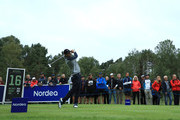 Thomas Aiken of South Africa tees off on the 16th hole during day three of the Nordea Masters at Hills Golf Club on August 18, 2018 in Gothenburg, Sweden.