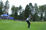 Thomas Aiken of South Africa plays his 2nd shot on the 14th hole during day three of the Nordea Masters at Hills Golf Club on August 18, 2018 in Gothenburg, Sweden.