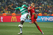 Kolo Toure of the Ivory Coast and Jong Tae-Se of North Korea battle for the ball during the 2010 FIFA World Cup South Africa Group G match between North Korea and Ivory Coast at the Mbombela Stadium on June 25, 2010 in Nelspruit, South Africa.