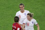 Isabell Herlovsen of Norway confronts Jill Scott and Ellen White of England during the 2019 FIFA Women's World Cup France Quarter Final match between Norway and England at Stade Oceane on June 27, 2019 in Le Havre, France.