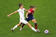 Guro Reiten of Norway is challenged by Jill Scott of England during the 2019 FIFA Women's World Cup France Quarter Final match between Norway and England at Stade Oceane on June 27, 2019 in Le Havre, France.