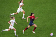 Ingrid Syrstad Engen of Norway runs with the ball during the 2019 FIFA Women's World Cup France Quarter Final match between Norway and England at Stade Oceane on June 27, 2019 in Le Havre, France.