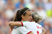 Jill Scott of England celebrates with teammate Ellen White  after scoring her team's first goal during the 2019 FIFA Women's World Cup France Quarter Final match between Norway and England at Stade Oceane on June 27, 2019 in Le Havre, France.