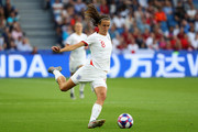 Jill Scott of England passes the ball during the 2019 FIFA Women's World Cup France Quarter Final match between Norway and England at Stade Oceane on June 27, 2019 in Le Havre, France.