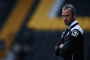 Shaun Derry, manager of Notts County looks on during the Pre Season Friendly match between Notts County and CA Osasuna at Meadow Lane on August 1, 2014 in Nottingham, England.