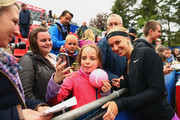 Sabine Lisicki of Germany takes selfies with fans after defeating Laura Arruabarrena of Spain during day four of the Nuernberger Versicherungscup 2016 on May 17, 2016 in Nuremberg, Germany.