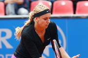 Sabine Lisicki of Germany returns the ball to Varvara Lepchenko of USA during day five of the Nuernberger Versicherungscup 2016 on May 18, 2016 in Nuremberg, Germany.