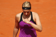 Sabine Lisicki of Germany reacts during her match against Varvara Lepchenko of USA during day five of the Nuernberger Versicherungscup 2016 on May 18, 2016 in Nuremberg, Germany.