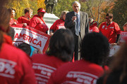 Political activist and former presidential candidate Ralph Nader addresses hundreds of members of National Nurses United and their supporters during a rally in Laffayette Square across from the White House before marching to the U.S. Treasury Department November 3, 2011 in Washington, DC. In the spirit of the Occupy Wall Street movement, members of various labor unions with the AFL-CIO joined the nurses in their call to tax financial transactions on Wall Street and around the world as a way of reducing the national debt.