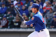Anthony Rizzo #44 of the Chicago Cubs hits a single against the Oakland Athletics during the first inning of the spring training game at Sloan Park on February 28, 2018 in Mesa, Arizona.