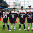 A. J. Hinch and George Springer Photos
