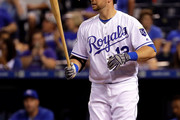Daniel Nava #12 of the Kansas City Royals bats during the game against the Oakland Athletics at Kauffman Stadium on September 12, 2016 in Kansas City, Missouri.