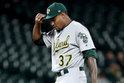 Edwin Jackson #37 of the Oakland Athletics reacts after giving up a hit to Jean Segura #2 of the Seattle Mariners in the first inning during their game at Safeco Field on September 26, 2018 in Seattle, Washington.