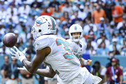 Kenyan Drake #32 of the Miami Dolphins makes the catch during the first quarter against the Oakland Raiders at Hard Rock Stadium on September 23, 2018 in Miami, Florida.