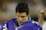 Christian Ponder #7 of the Minnesota Vikings looks on during the fourth quarter of the game against the Oakland Raiders on August 8, 2014 at TCF Bank Stadium in Minneapolis, Minnesota. The Vikings defeated the Raiders 10-6.