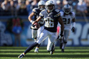 Wide receiver Vincent Brown #86 of the San Diego Chargers carries the ball against the Oakland Raiders at Qualcomm Stadium on December 22, 2013 in San Diego, California.