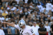 Sebastian Janikowski #11 of the Oakland Raiders kicks a field goal in the first quarter of the game against the San Diego Chargers at Qualcomm Stadium on November 16, 2014 in San Diego, California.