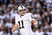Sebastian Janikowski #11 of the Oakland Raiders reacts to his field goal turnover take a 19-16 lead over the San Diego Chargers during the fourth quarter at Qualcomm Stadium on December 18, 2016 in San Diego, California.