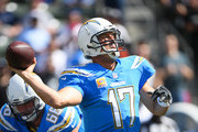 Quarterback Philip Rivers #17 of the Los Angeles Chargers passes in the first quarter against the Oakland Raiders at StubHub Center on October 7, 2018 in Carson, California.