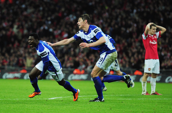 Obafemi Martins Obafemi Martins (L) of Birmingham City celebrates the winning goal with Nikola Zigic during the Carling Cup Final between Arsenal and Birmingham City at Wembley Stadium on February 27, 2011 in London, England.