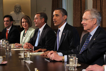 Nancy Pelosi Eric Cantor Obama Continues Talks With Congressional Leaders On Deficit At White House