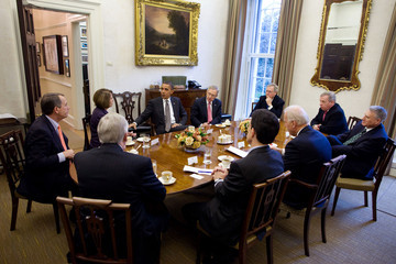 Nancy Pelosi Eric Cantor Obama Holds Bi-Partisan Meeting With Congressional Leadership