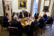 In this handout image provided by the White House, U.S. President Barack Obama (C) and Vice President Joe Biden (3R) meet with bipartisan Congressional leadership in the President's Private Dining Room at The White House November 30, 2010 in Washington, DC. Attending the meeting, clockwise from President Obama are: Sen. Harry Reid, D-NV, Majority Leader, Sen. Mitch McConnell, R-KY, Republican Leader, Sen. Dick Durbin, D-IL, Assistant Majority Leader, Sen. Jon Kyl, R-AZ, Republican Whip, Vice President Biden, Rep. Eric Cantor, R-VA, Republican Whip, Rep. Steny Hoyer, D-MD, Majority Leader, Rep. John Boehner, R-OH, Republican Leader, and Speaker Nancy Pelosi, D-CA. During their first formal meeting since the mid-term elections, Obama spoke about taxes, the START treaty and finding common ground with Republicans.