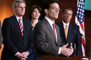U.S. House Majority Leader Rep. Eric Cantor (R-VA) (3rd L) speaks as Speaker of the House Rep. John Boehner (R-OH) (R), House Majority Whip Rep. Kevin McCarthy (R-CA) (L) and Rep. Cathy McMorris Rodgers (R-WA) (2nd L) look on during a news conference after a meeting between President Barack Obama and the House Republican Conference at the U.S. Capitol March 13, 2013 on Capitol Hill in Washington, DC. President Obama traveled to the Hill to meet with Republican House members in a closed meeting.