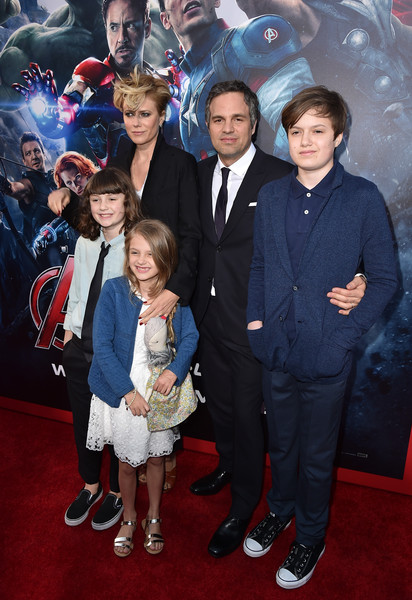 Premiere Of Marvel's 'Avengers: Age Of Ultron' - Red Carpet [avengers: age of ultron,red carpet,premiere,event,carpet,suit,red carpet,flooring,outerwear,formal wear,child,mark ruffalo,keen ruffalo,odette ruffalo,sunrise coigney,bottom l-r,top l-r,marvel,premiere]