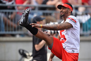 Quarterback Braxton Miller #5 of the Ohio State Buckeyes stretches on the sideline during the annual Ohio State Spring Game at Ohio Stadium on April 18, 2015 in Columbus, Ohio. Miller is recovering from an injury.