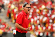 Head coach Randy Edsall of the Maryland Terrapins yells to his players during the second half of their 52-24 loss to the Ohio State Buckeyes at Byrd Stadium on October 4, 2014 in College Park, Maryland.