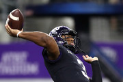 Shawn Robinson #3 of the TCU Horned Frogs throws against the Ohio State Buckeyes in the second quarter during The AdvoCare Showdown at AT&T Stadium on September 15, 2018 in Arlington, Texas.