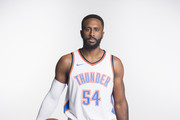 Patrick Patterson #54 of the Oklahoma City Thunder poses for a photo during media day at Chesapeake Energy Arena on September 25, 2017 in Oklahoma City, Oklahoma.  NOTE TO USER: User expressly acknowledges and agrees that, by downloading and/or using this photograph, user is consenting to the terms and conditions of the Getty Images License Agreement.