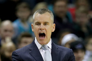 Head coach Billy Donovan of the Oklahoma City Thunder reacts during their game against the Charlotte Hornets at Spectrum Center on January 13, 2018 in Charlotte, North Carolina.  NOTE TO USER: User expressly acknowledges and agrees that, by downloading and or using this photograph, User is consenting to the terms and conditions of the Getty Images License Agreement.
